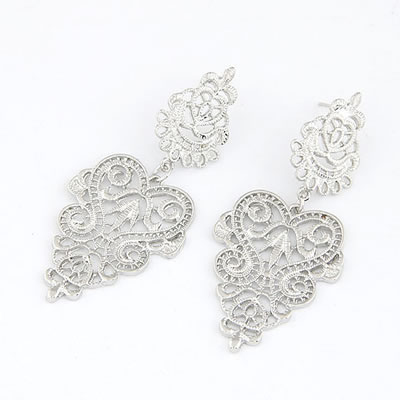 Anting Tusuk Silver Color Elegant Hollow Design Alloy Stud Earrings T68E8A