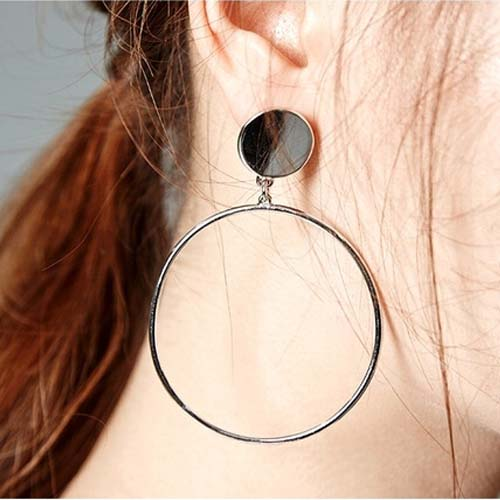 Anting minimalist geometric circle earrings JUL248