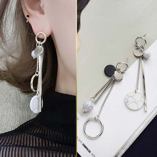 Marble flower pattern earrings JUL260