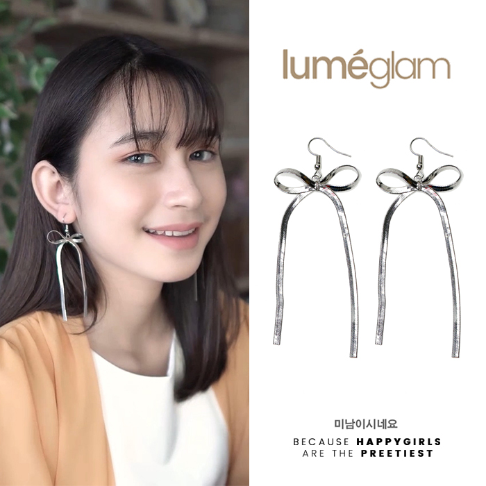 Anting Long section bow earrings AGS143