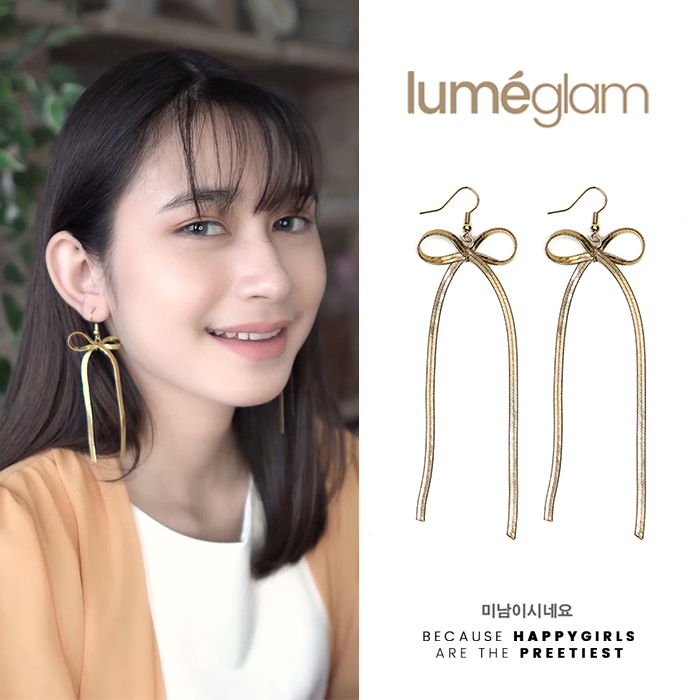 Anting Long section bow earrings AGS144