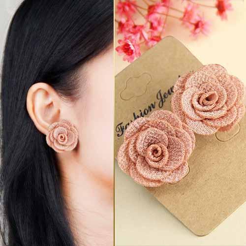 Fabric Three Camellia earrings JLR002