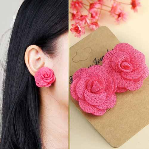 Fabric Three Camellia earrings JLR005