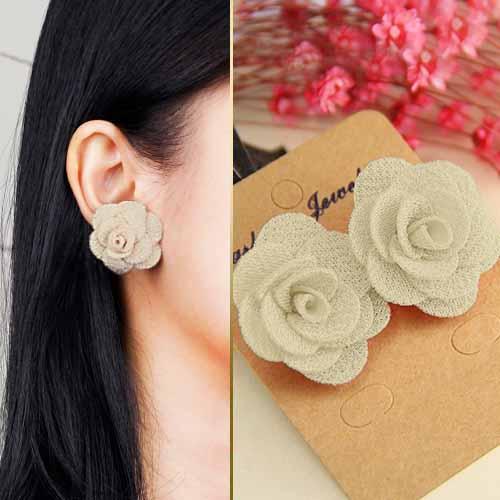 Fabric Three Camellia earrings JLR006