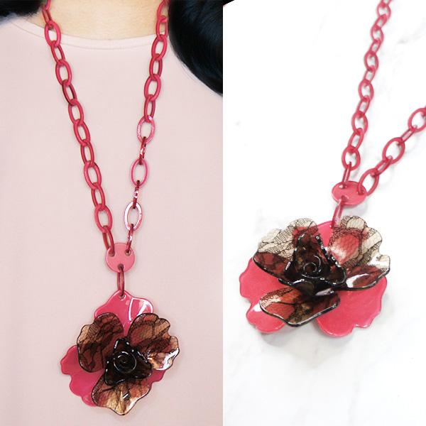 Flower 3 Shape Long Necklaces JLR009