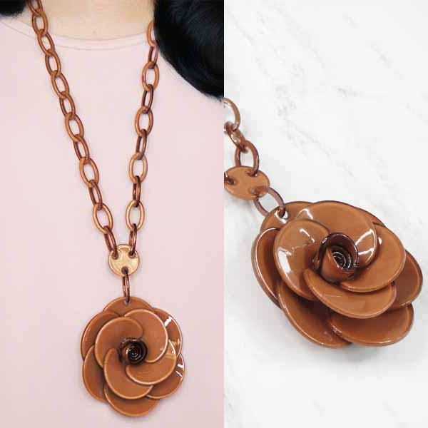 Rose Flower Long Necklaces JLR015