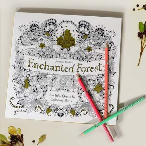 Korean Stationery Enchanted Forest Coloring Book JLR017
