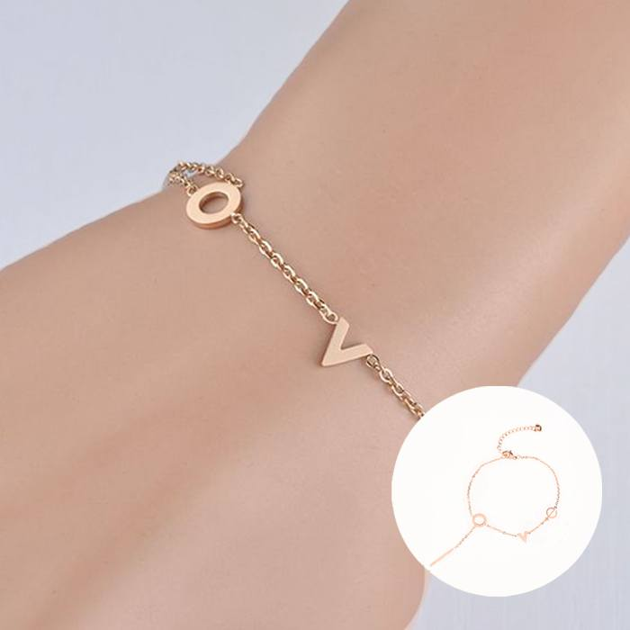 Gelang Korea Titanium bracelet model V  korean style gold APR516