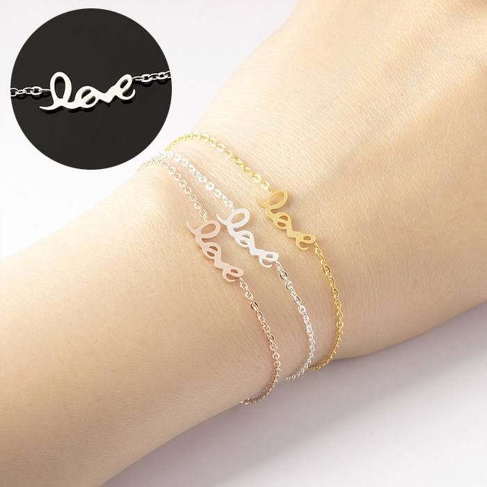 Gelang Fashion love bracelet women symbol chain titanium silver (1pcs) APR517