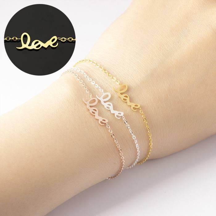 Gelang Fashion love bracelet women symbol chain titanium gold (1pcs) APR518