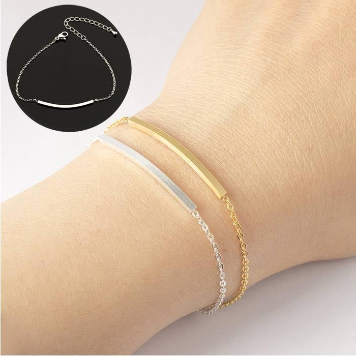 Gelang Fashion Curved Female Bracelet titanium Geometric Silver (1pcs) APR519