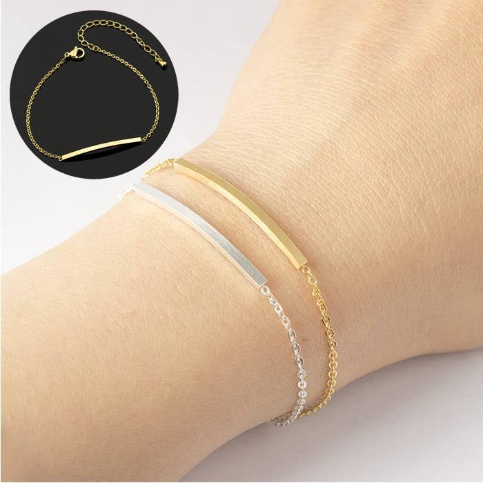 Cincin Curved Female Bracelet titanium Geometric gold (1pcs) APR520