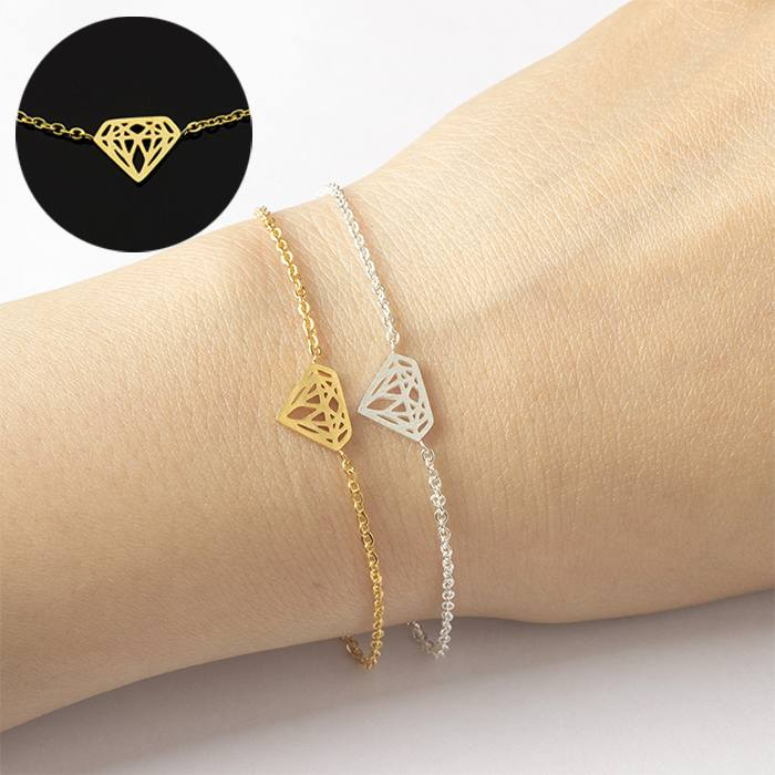 Gelang Fashion bracelet titanium origami Jewelry Geometric Pattern Gold (1pcs) APR522