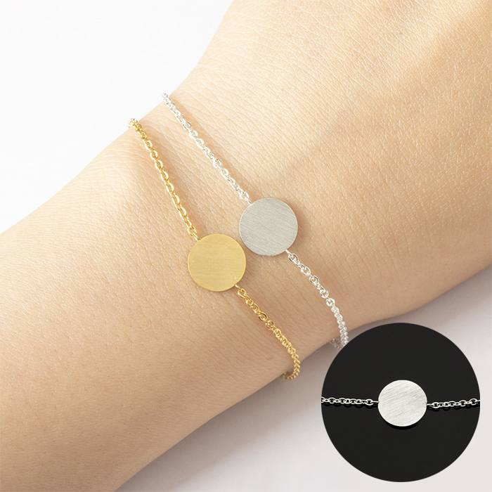 Gelang Fashion Round Cause Chain Bracelet titanium Silver (1pcs) APR523