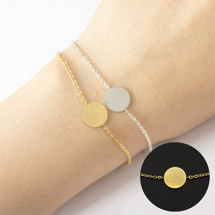Gelang Fashion Round Cause Chain Bracelet titanium Gold (1pcs) APR524