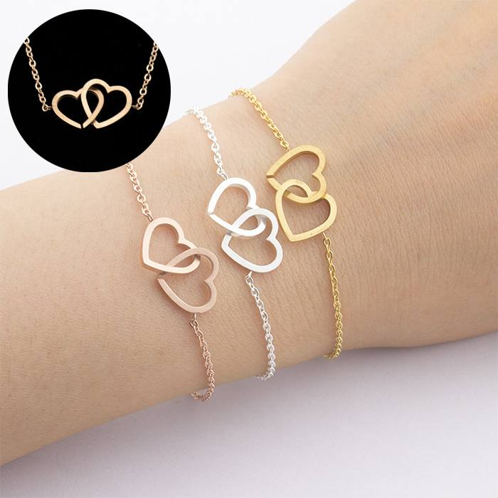 Gelang Fashion bracelet titanium double Heart Forever Together Rose Gold (1pcs) APR528