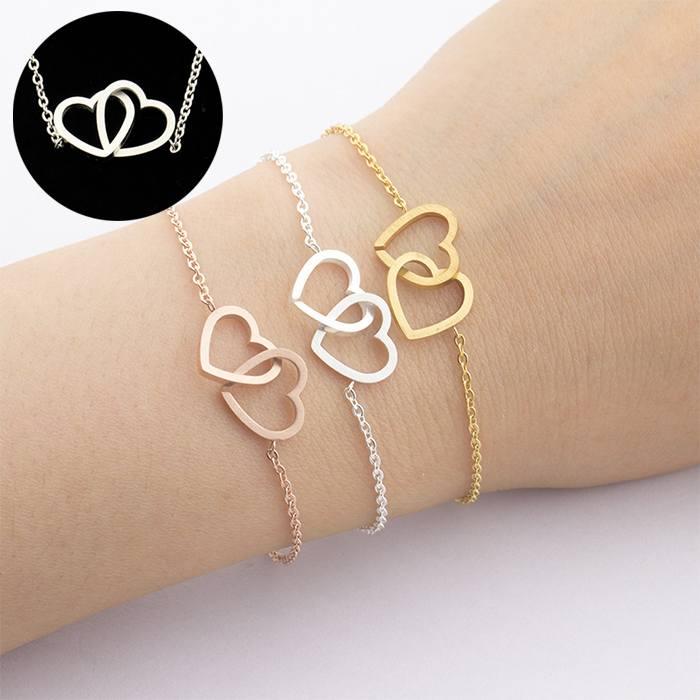 Gelang Fashion bracelet titanium double Heart Forever Together Silver (1pcs) APR529