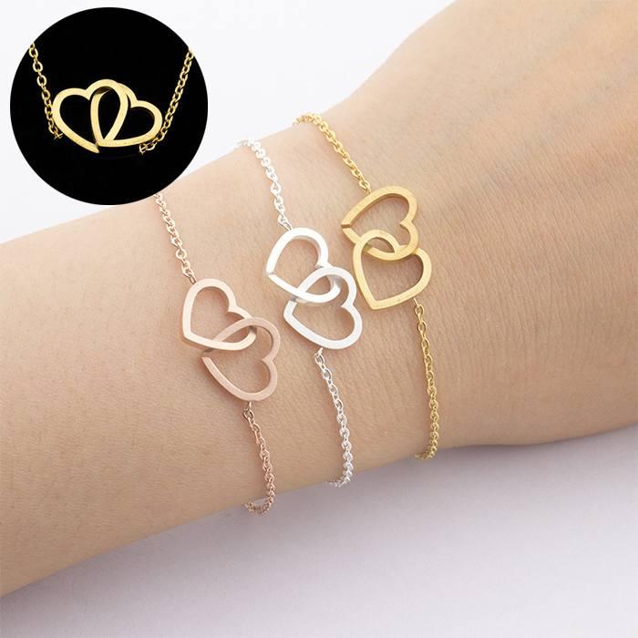 Cincin bracelet titanium double Heart Forever Together Gold (1pcs) APR530