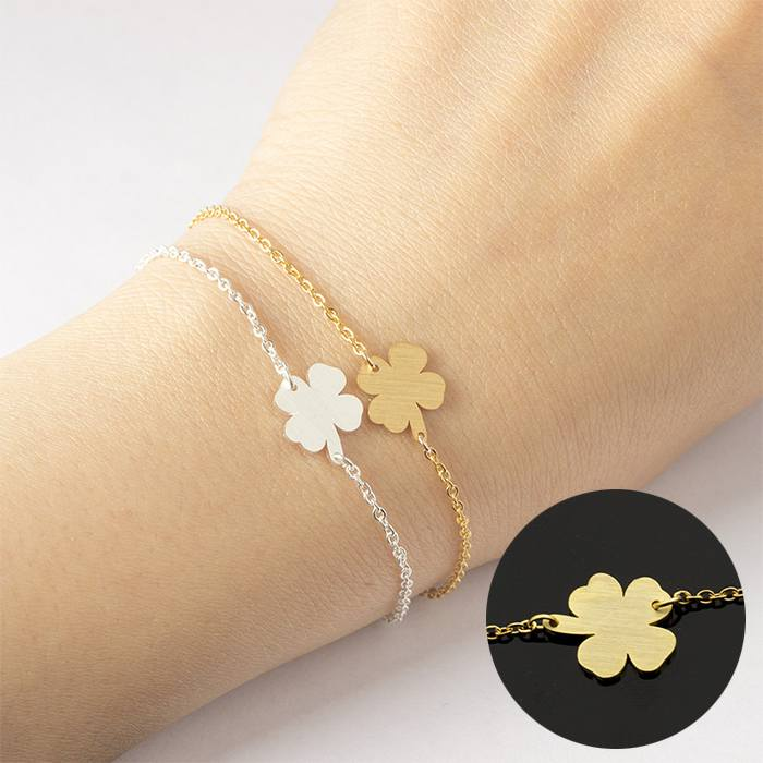 Gelang Fashion bracelet titanium Four-leaf clover charm Gold (1pcs) APR535