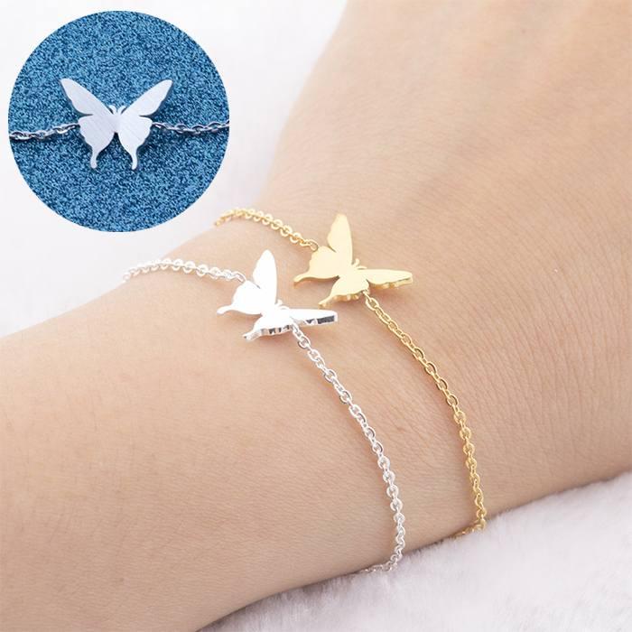 Gelang Fashion Bracelet titanium stainless Steel Micro-Inlay Plating Butterfly Ladies Bracelet Silver (1pcs) APR536