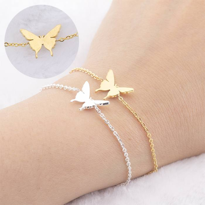 Gelang Fashion Bracelet titanium Stainless Steel Micro-Inlay Plating Butterfly Ladies Bracelet Gold (1pcs) APR537