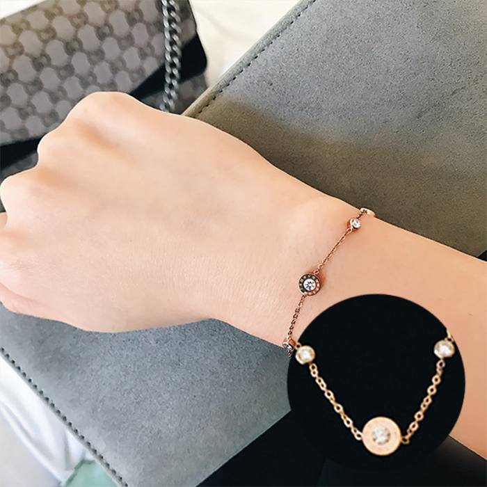 Gelang Korea Titanium Steel Plated Rose Gold Bracelet APR548