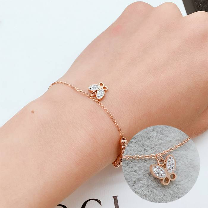 Gelang Korea Butterfly Titanium Steel Bracelet Rose Gold APR559