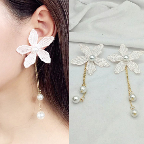 Flower lace long chain pearl earrings BE4023