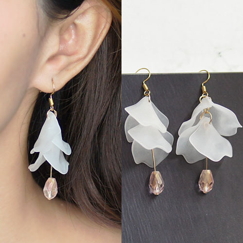 Acrylic flower petals diamond earrings BE4032