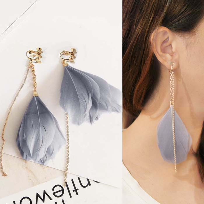 Anting Exaggerated elegant tide feathers ear clip no needle DES080