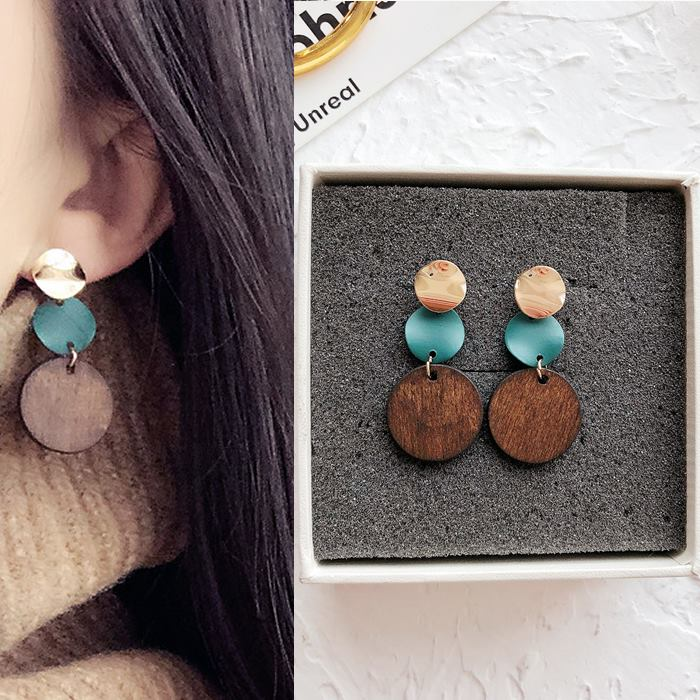 Anting Circle wood earrings DES206