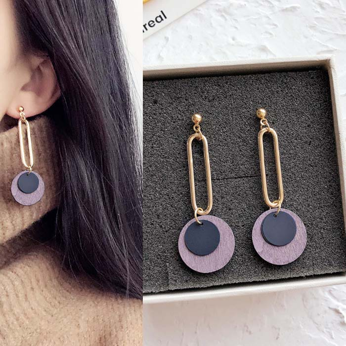 Anting Circle copper hollow wood earrings DES210