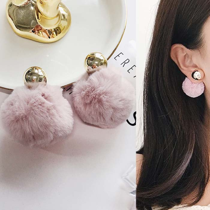 Anting PomPom copper round earrings DES214