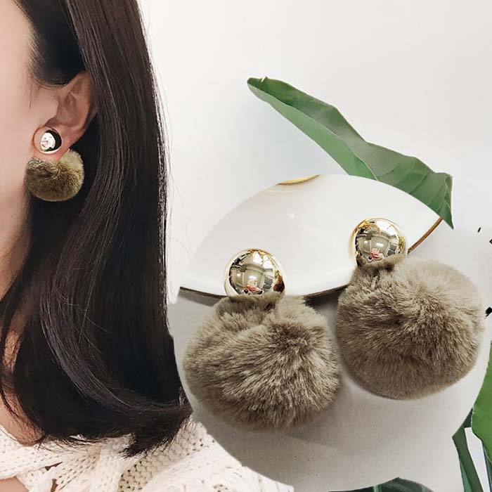 Anting PomPom copper round earrings DES215