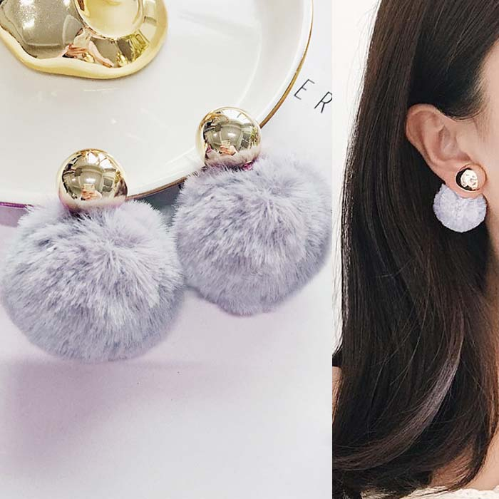 Anting PomPom copper round earrings DES216