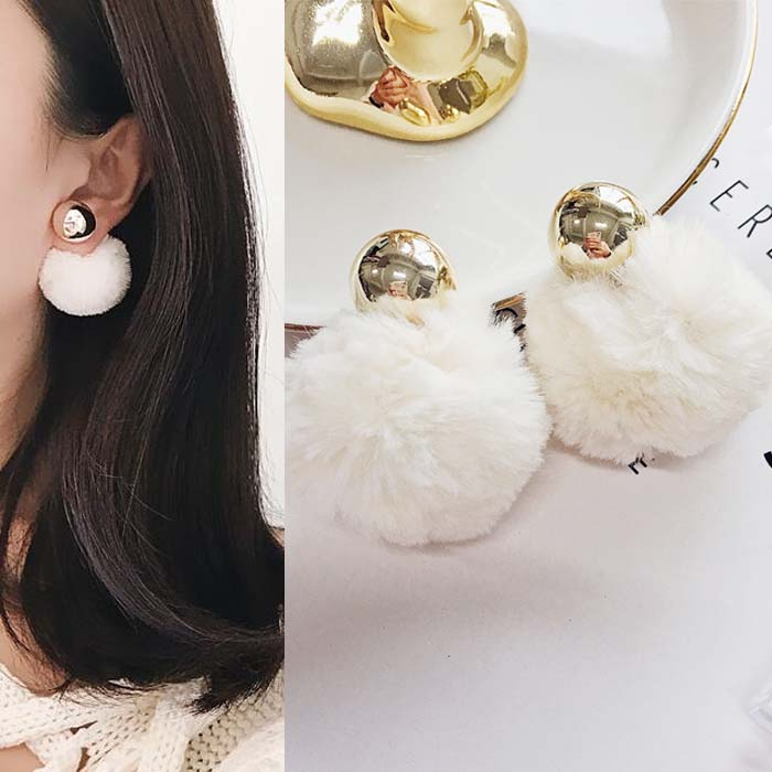 Anting PomPom copper round earrings DES217