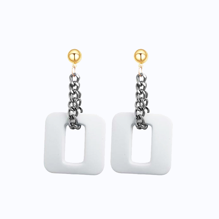 Anting Retro creative geometric square earrings DES394