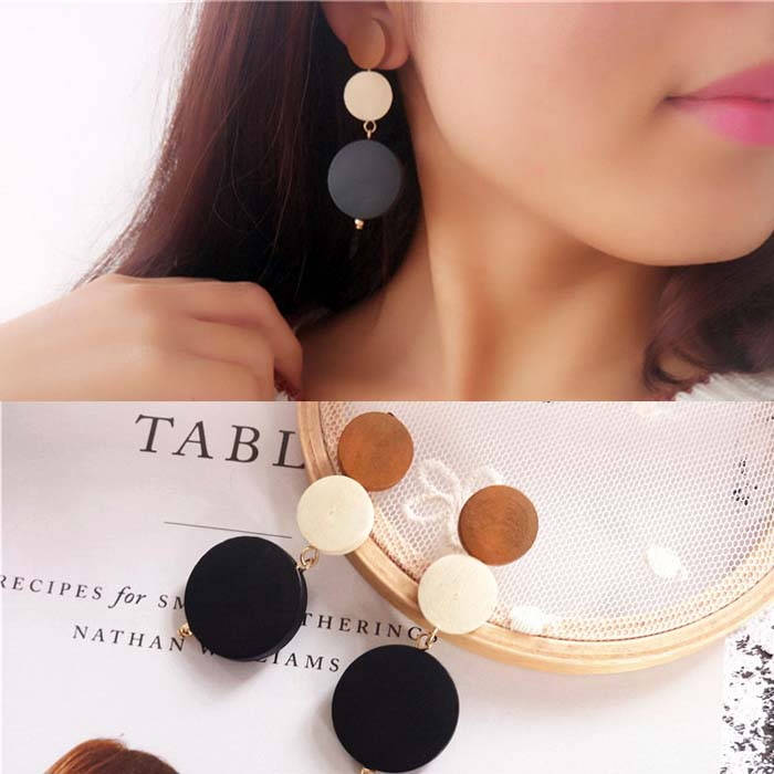 Retro wooden circle earrings DES803
