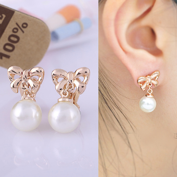 Anting Bow knote copper pearl ear clip no needle DES926