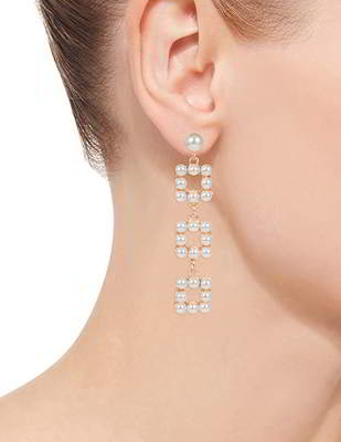 Anting Tusuk minimalist pearls square shape earrings  P8A6F5