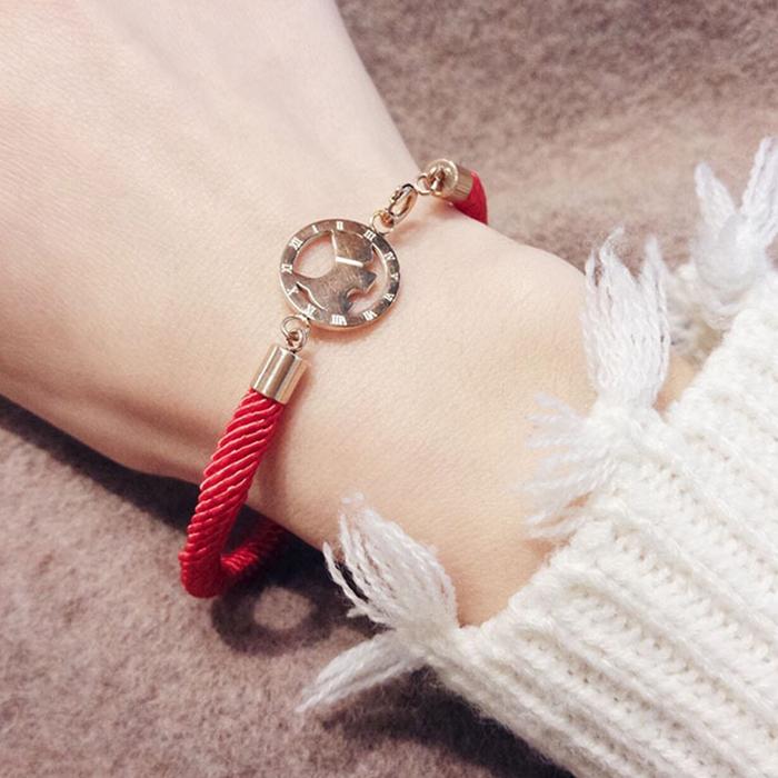 Minimalist rope bracelet titanium steel J4U032