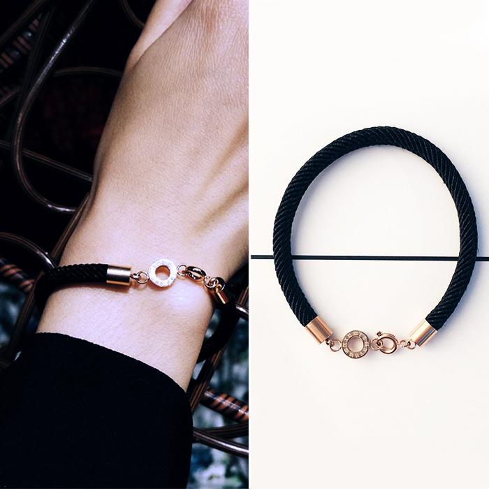 Minimalist rope bracelet titanium steel J4U038