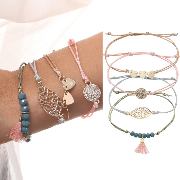 Gelang Fashion Bohemian riendship bracelet female arrow heart drill string wax cord bracelet set J4U098