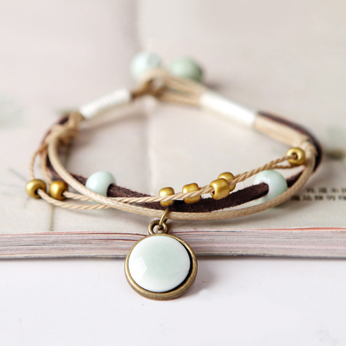 Gelang Fashion Ceramic weaving simple art bracelet J4U201