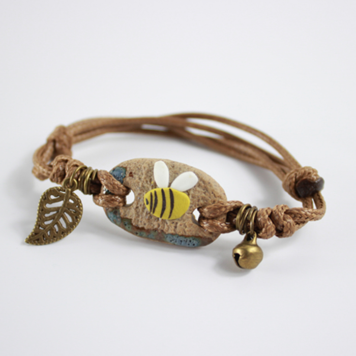 Simple hand woven trinkets ceramic ornaments bracelet J4U219