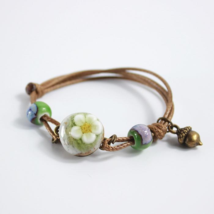 Simple hand woven trinkets ceramic ornaments bracelet J4U220