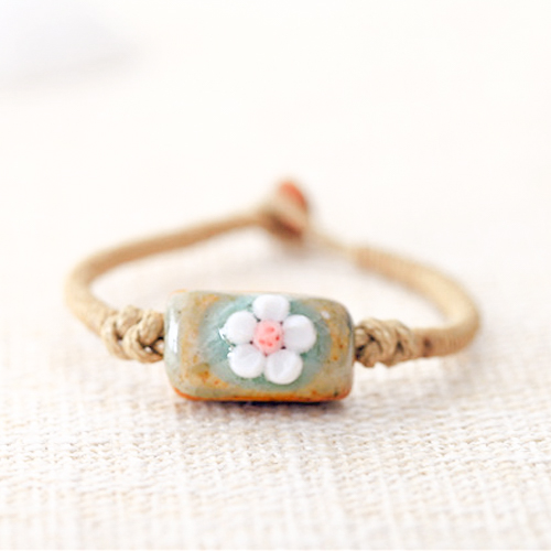 Gelang Fashion Etsy Bohemian flower ceramic bracelet J4U225