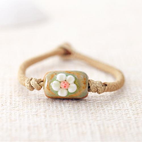 Gelang Fashion Etsy Bohemian flower ceramic bracelet J4U226