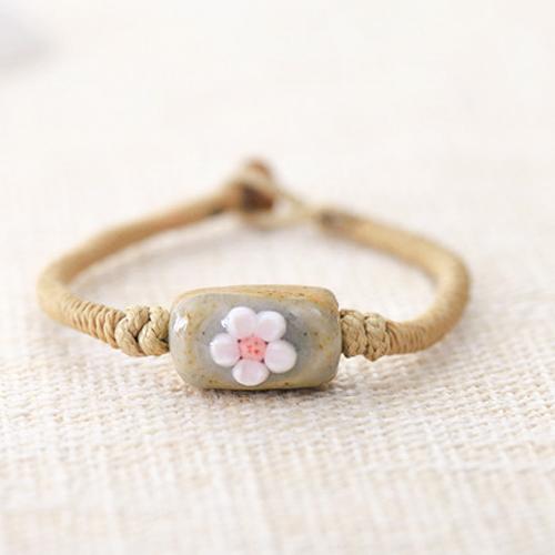 Gelang Fashion Etsy Bohemian flower ceramic bracelet J4U227