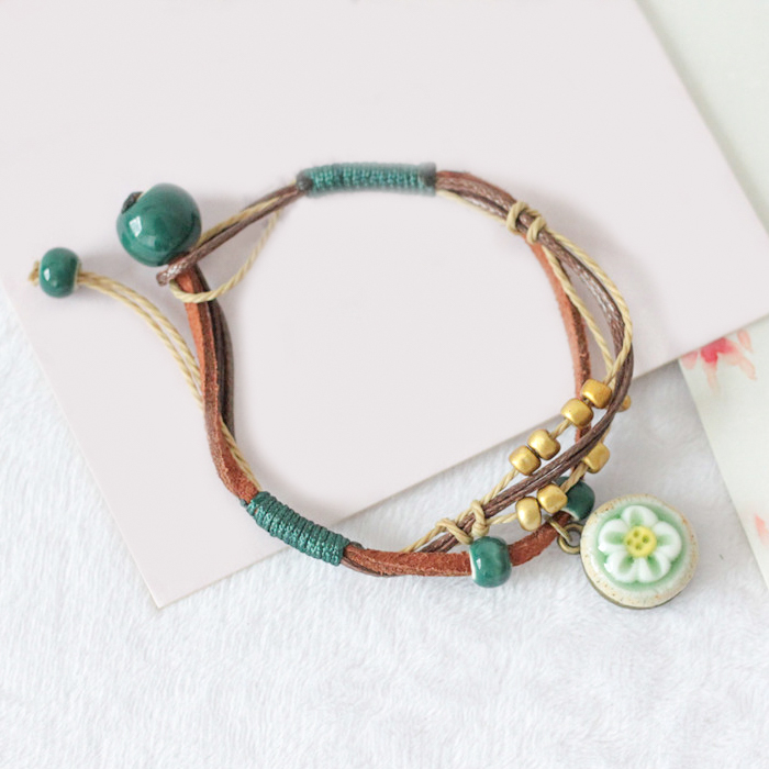 Gelang Fashion Woven flower ceramic bracelet J4U233